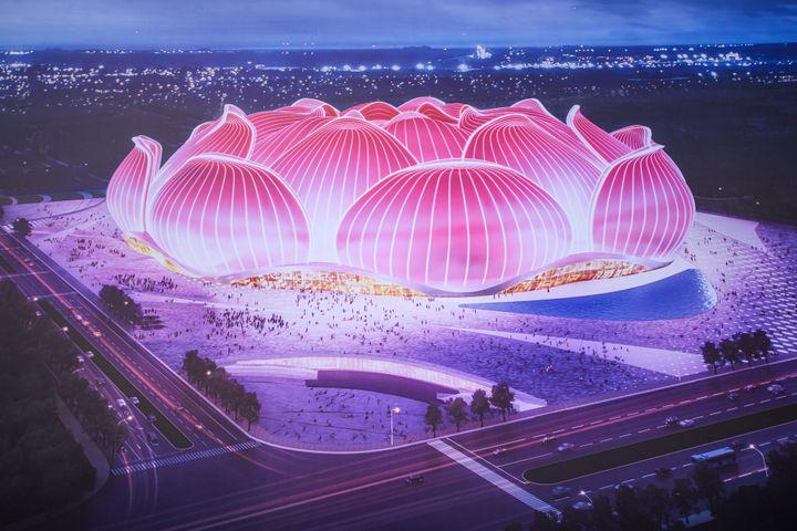 Image du stade Guangzhou Evergrande en construction depuis avril 2020. (STR / AFP)