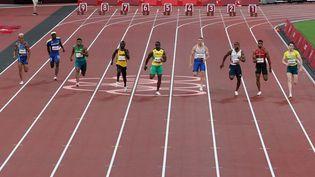 La finale du 100 m masculin des Jeux de Tokyo aura lieu dimanche 1er août à 14h50. (GIUSEPPE CACACE / AFP)