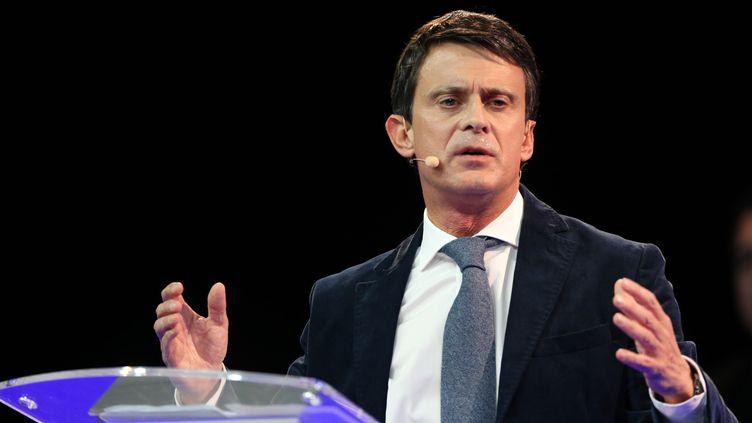 L'ancien Premier ministre français Manuel Valls, candidat à la mairie de Barcelone, lors d'un meetingdans la ville espagnole le 13 décembre 2018. (ALAIN ROBERT/SIPA / SIPA)