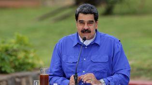 Nicolas Maduro donne une allocution télévisée depuis le palais présidentiel à Caracas, au Venezuela, le 22 juin 2020. (MARCELO GARCIA / VENEZUELAN PRESIDENCY / AFP)