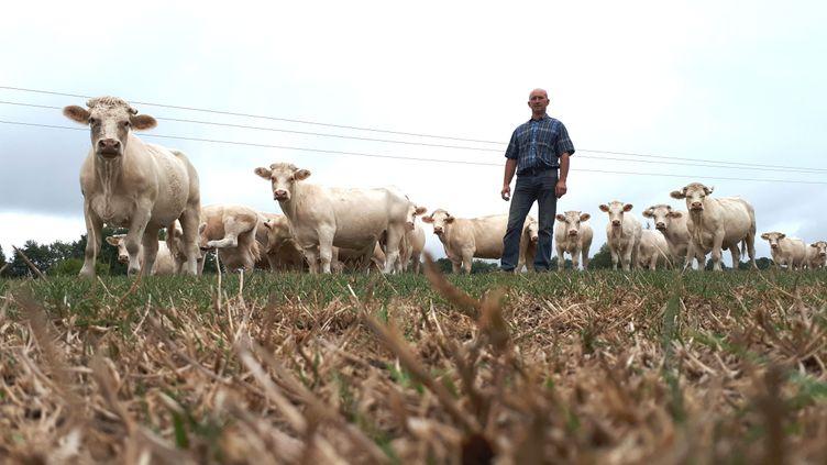 Eric Leveau, 49 ans, éleveur de bovins aux Etilleux (Eure-et-Loir) constate les effets de la sécheresse dans ses champs. (BENJAMIN ILLY / RADIO FRANCE)