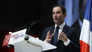 Benoît Hamon lors de son meeting d'investiture, dimanche 5 février 2017, à Paris. (THOMAS SAMSON / AFP)