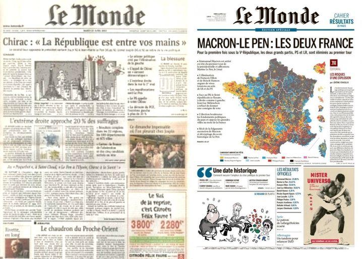 """Unes du quotidien """"Le Monde""""du 23 avril 2002 et du 24 avril 2017. (LE MONDE)"""