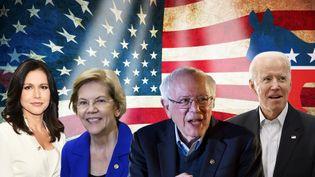 Les quatre candidats aux primaires démocrates en vue de la présidentielle américaine. (PIERRE-ALBERT JOSSERAND / FRANCEINFO)