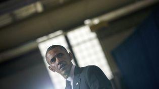 Le président des Etats-Unis Barack Obama, lors d'un discours à Providence (Rhode Island, Etats-Unis), le 31 octobre 2014. (BRENDAN SMIALOWSKI / AFP)