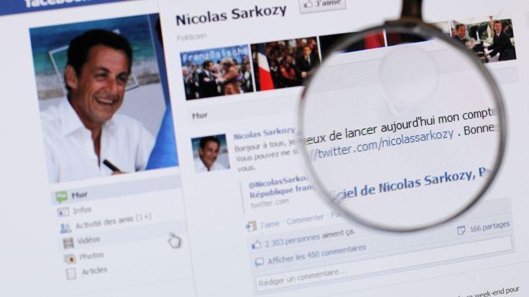 Le compte Facebook de Nicolas Sarkozy, le 15 février 2012. (THOMAS COEX / AFP)