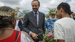 Edouard Philippe àKoné (Nouvelle-Calédonie), le 4 décembre 2017. (FRED PAYET / AFP)