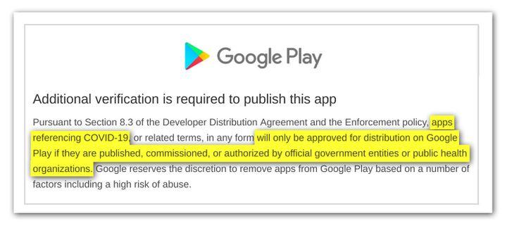 Extrait du mail reçu par de nombreux développeurs de la part de Google suite à la suspension de leur application. (TOUS DROITS RÉSERVÉS)