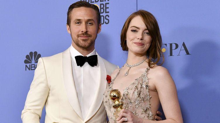 Les acteurs Emma Stone et Ryan Gosling au Golden Globes, janvier 2017  (Rob Latour/Shutterstock/SIPA)