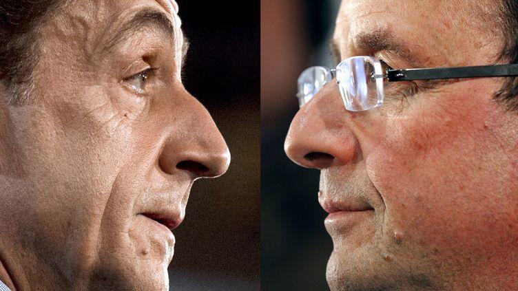 48% des personnes interrogées pronostiquent la victoire de François Hollande et 35% celle de Nicolas Sarkozy. (FRED DUFOUR / PATRICK KOVARIK / AFP)