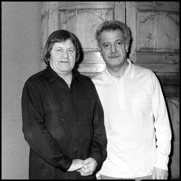 Pierre Parsus et Georges Brassens, au vernissage des lithographies de Pierre Parsus, 1974 (Lucette et Pierre Parsus: http://www.lucetteetpierreparsus-peintre.com/)  (Lucette et Pierre Parsus)