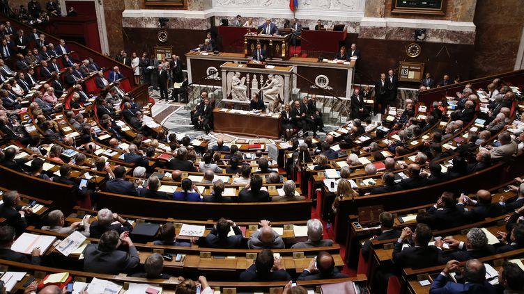 Le Premier ministre Manuel Valls, le 16 septembre 2014 à l'Assemblée nationale. (PATRICK KOVARIK / AFP)