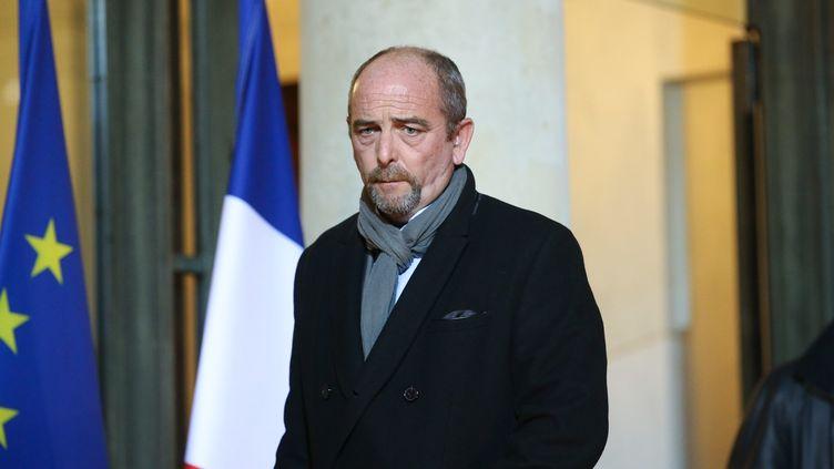 Yves Lefebvre, secrétairegénéral du syndicat Unité-SGP Police FO, lors d'une rencontre à l'Elysée le 26 octobre 2016. (LEON TANGUY / MAXPPP)