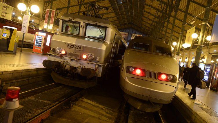 Un TGV et un TER à l'arrivée, Gare du Nord à Paris, le 11 décembre 2013. (LIONEL BONAVENTURE / AFP)