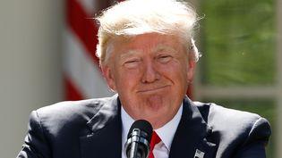 Le président des Etats-Unis, Donald Trump, annonce sa décision de sortir de l'accord de Paris sur le climat, le 1er juin 2017, dans le jardin de la Maison Blanche. (KEVIN LAMARQUE / REUTERS)