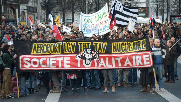 Des manifestants opposés à l'aéroport Notre-Dame-des-Landes à Nantes (Loire-Atlantique), le 24 novembre 2012. (DAMIEN MEYER / AFP)