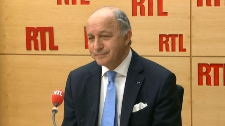 Laurent Fabius, ministre des Affaires étrangères, sur RTL, le 22 avril 2014. (RTL / FRANCETV INFO)