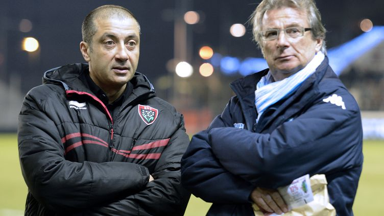 Mourad Boudjellal et Jacky Lorenzetti, les frères ennemis du RCT et du Racing (GERARD JULIEN / AFP)