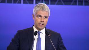 Le président des Républicains, Laurent Wauquiez, réagit aux attaques terroristes dans l'Aude, lors d'un discours à Paris, le 26 mars 2018. (MAXPPP)