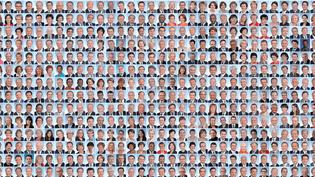 Le trombinoscope des députés sortants après les résultats du premier tour des élections législatives, dimanche 11 juin. (NICOLAS ENAULT)
