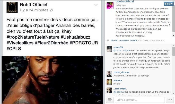 Capture d'écran du compte Instagram de Booba, qui répond à un précédent message du rappeur Rohff. (DR)