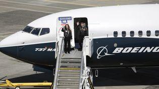 Le vol inaugural du B737 Max à l'aéroport de Renton (USA), le 13 avril 2017. (JASON REDMOND / AFP)