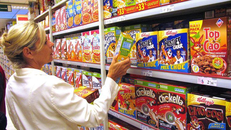 Des céréales ultra-transformées dans un supermarché. (photo d'illustration) (HERV DE GUELTZL / PHOTONONSTOP / AFP)