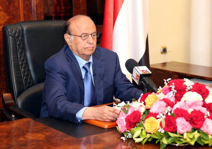 Le président légitime du Yémen,Abd Rabo Mansour Hadi, lors d'une conférence de presse à Aden, le 21 mars2015. (POOL/YEMENI PRESIDENCY PRESS OFF / ANADOLU AGENCY)