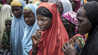 Un groupe de filles nigériennes attend l'arrivée d'un convoi des Nations Unies dans le village de Sabon Machi, dans la région de Maradi, au Niger, le 16 août 2018. (LUIS TATO / AFP)