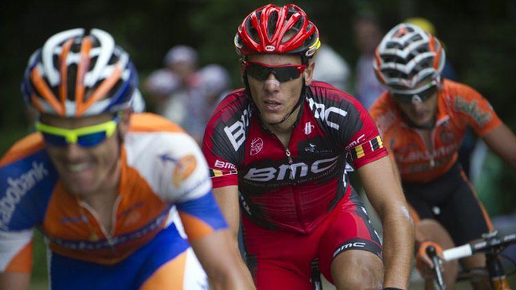 Philippe Gilbert dans la roue de Luis Leon Sanchez (LIONEL BONAVENTURE / AFP)