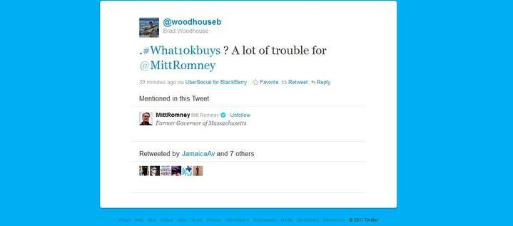 Capture d'écran du compte Twitter de Brad Woodhouse, Directeur de la communication du parti démocrate, le 11 décembre 2011. (FTVi)