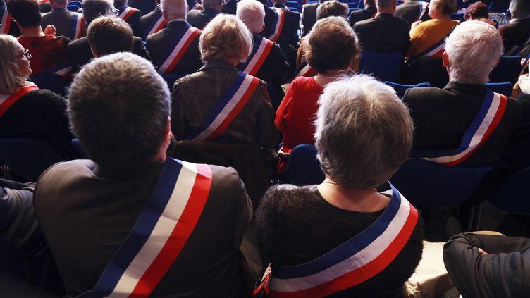 Des maires au 100e congrès des maires de France à Paris, le 21 novembre 2017. (JACQUES DEMARTHON / AFP)