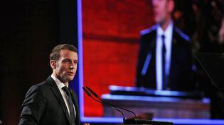 Le Président français Emmanuel Macron prononce un discours au Musée mémorial de l'Holocauste de Yad Vashem à Jérusalem (Israël), le 23 janvier 2020. (RONEN ZVULUN / AFP)
