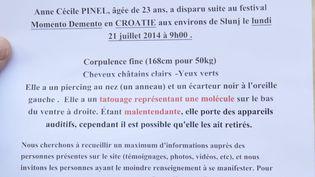 Des photos de Anne-Cécile Pinel sur un tract diffusé, le 4 octobre 2014 à Chambéry (Savoie), après sa disparition en Croatie. (MAXPPP)