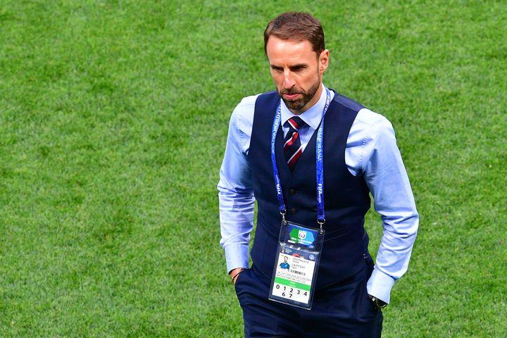 L'entraîneur de l'équipe anglaise de football, Gareth Southgate, lors de la demi-finale de la Coupe du monde contre la Croatie, à Moscou (Russie),le 11 juillet 2018.  (MLADEN ANTONOV / AFP)