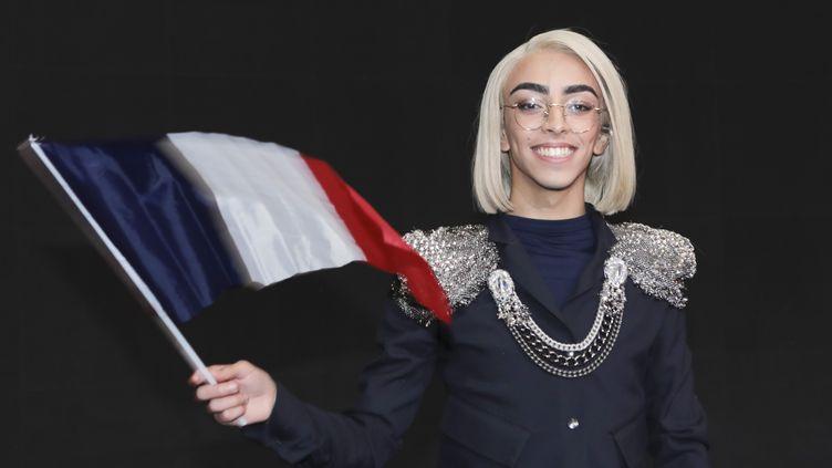 """Bilal Hassani, le 26 janvier 2019, à Paris, lors de """"Destination Eurovision"""". (GILLES SCARELLA / FRANCE TELEVISIONS / AFP)"""