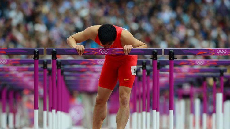 Liu Xiang après sa chute sur 110m haies (OLIVIER MORIN / AFP)