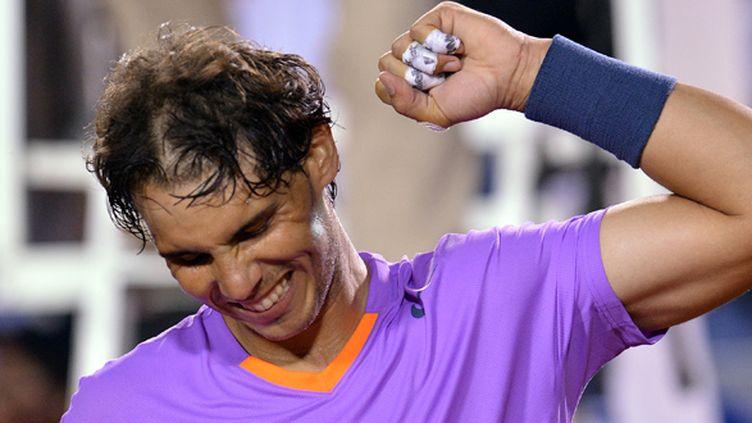Rafael Nadal manifeste sa joie après son succès sur Jérémy Chardy en demi-finale à Vina Del Mar