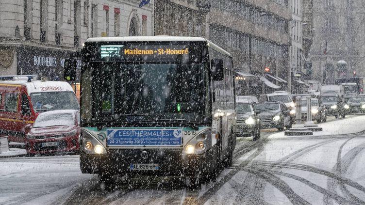 Chutes de neige à Paris, le 22 janvier 2019. (MAXPPP)