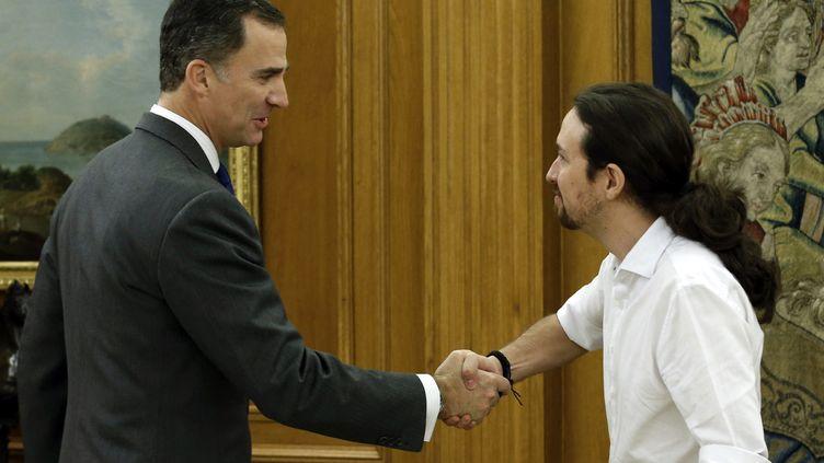 Pablo Iglesias (à droite), leader du parti anti-austérité Podemos, a rencontré le roi d'Espagne Felipe VI, le 22 janvier 2016 à Madrid, pour lui annoncer son intention de former un gouvernement d'alliance avec le Parti socialiste. (ANGEL DIAZ / EFE)