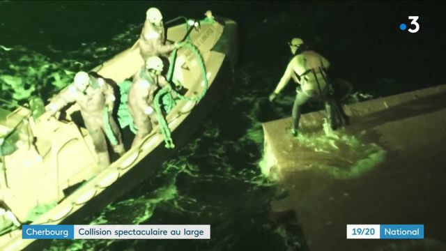 Cherbourg : collision spectaculaire entre un cargo et un chalutier