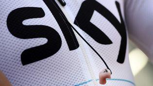 Le logo de la team Sky lors du Tour de France, à Troyes (Aube), le 6 juillet 2017. (YORICK JANSENS / BELGA MAG / AFP)