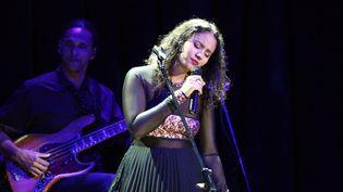 Mayra Andrade en concert à Gdansk, en Pologne, le 25 avril 2014  (Citizenside.com / Michal Fludra / AFP)