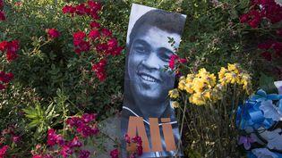 Une image de Mohamed Ali entre les fleurs, devant le centre Mohamed Ali à Louisville, dans le Kentucky, mardi 7 juin 2016. (BRENDAN SMIALOWSKI / AFP)