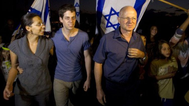 La famille de Gilad Shalit, le 12 octobre 2011. (JACK GUEZ / AFP)