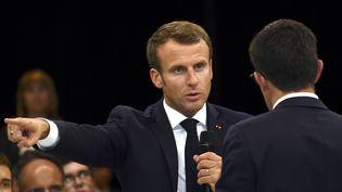 Emmanuel Macron à Rodez, le 3 octobre 2019. (ERIC CABANIS / POOL/ AFP)
