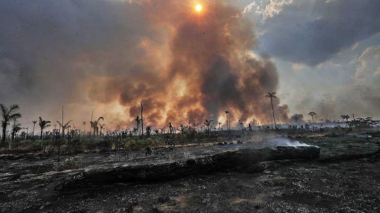 Un incendie à Sainto Antonio do Matupi, dans le sud de l'Amazonie, au Brésil, le 27 août 2019. (GABRIELA BILO/ESTADAO CONTEUDO/AFP)
