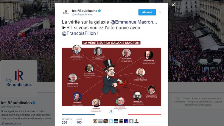 Les Républicains ont posté sur Twitter une caricature polémique d'Emmanuel Macron, vendredi 10 mars, avant de supprimer le tweet. (LES REPUBLICAINS / TWITTER)