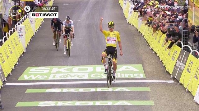 À Luz Ardiden, le maillot jaune parvient à distancer Jonas Vingegaard et Richard Carapaz et lève les bras au lendemain de son succès au col du Portet.