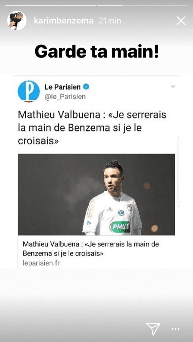 La réponse de Karim Benzema à Mathieu Valbuena. (INSTAGRAM)